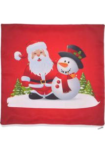 Capa Para Almofada Papai Noel & Boneco De Neve- Vermelhamabruk