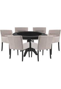Mesa De Jogos Carteado Montreal Redonda Tampo Reversível Preto Com 6 Cadeiras Vicenza Nude - Gran Belo