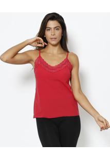 Blusa Com Renda- Vermelha- Hopehope