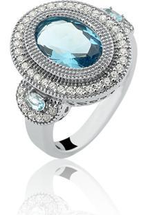 Anel Le Diamond Com Zircônias E Cristais Azul Celeste - Kanui