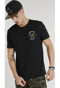"Camiseta Masculina ""Motorcycle Service"" Manga Curta Gola Careca Preta"