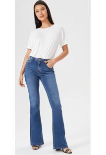 Calça Jeans Flare Bolso Relógio Diferenciado