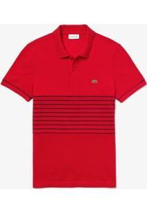 Camisa Polo Lacoste Regular Fit Masculina - Masculino-Vermelho+Marinho