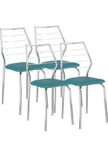 Cadeira 1716 04 Unidades Turquesa/Cromada Carraro