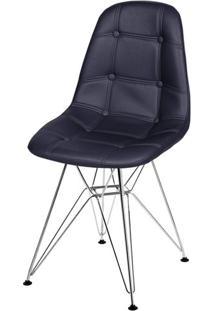 Cadeira Eames Botone Preta Base Cromada - 39065 - Sun House