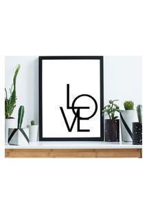 Quadro Decorativo Com Moldura Love Preto - 20X25Cm