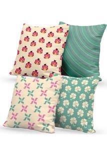 Kit 4 Capas De Almofadas Decorativas Own Trevos E Joaninhas 45X45 - Somente Capa