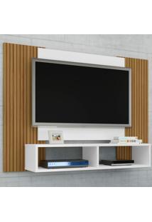 Painel Para Tv Até 42 Polegadas Navi Branco/Ripado - Móveis Bechara
