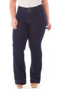 Calça Confidencial Extra Plus Size Flare Jeans Feminina - Feminino-Azul Escuro