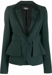 Karl Lagerfeld Blazer Com Sobreposição De Peplum - Verde