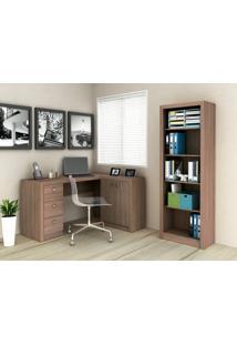 Conjunto Home Office 2 Peças Tecno Mobili: 1 Escrivaninha Com Balcão E 1 Armário - Amêndoa - Multistock