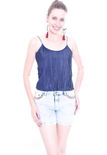Blusa Gup'S Jeans Plissada Azul