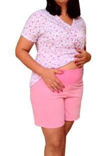 Pijama Short Doll Linda Gestante Amamentação Floral Com Botões Feminino - Feminino-Rosa+Branco