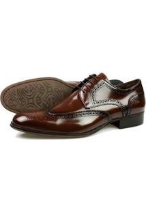 Sapato Social Oxford Classico Marrom Couro Masculino - Masculino-Café