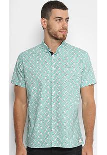 829227055 ... Camisa Slim Manga Curta Colcci Estampada Masculina - Masculino
