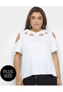 Blusa Heli Open Shoulder Ciganinha Plus Size Feminina - Feminino-Branco