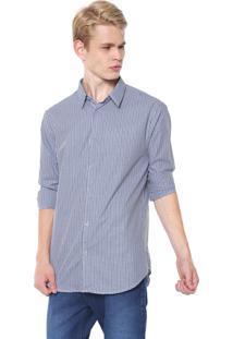 Camisa Calvin Klein Slim Xadrez Branca/Azul