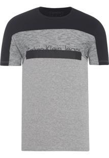Camiseta Masculina Ckj Recortes E Logo - Cinza