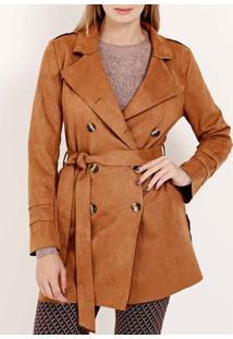 Casaco Trench Coat Feminino Caramelo