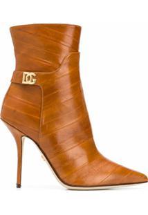 Dolce & Gabbana Ankle Boot Bico Fino De Couro - Neutro