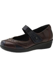 Sapato Diabetico Doctor Shoes 7877 Marinho/Bordo