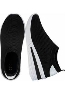 Tênis Sneaker Gigil Calce Fácil Anabela Preto - Kanui