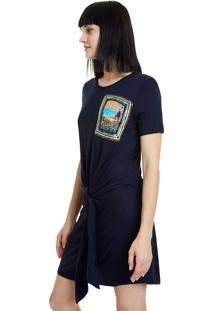 Vestido Curto Desigual Azul Marinho