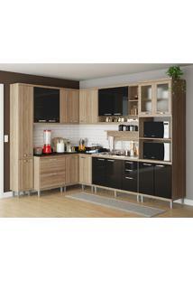 Cozinha Compacta 9 Peças 5802-S2 - Sicília - Multimóveis - Argila / Preto