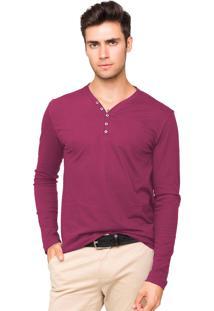 Camiseta Tony Menswear Com Elastano Gola V Pink