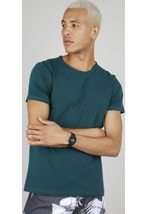 Camiseta Masculina Básica Slim Fit Manga Curta Gola Careca Verde Escuro
