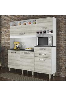 Armário De Cozinha Com Tampo 5 Portas Smart Nesher Móveis Branco/Pérola