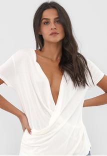 Blusa Dzarm Transpassada Off-White - Off White - Feminino - Viscose - Dafiti