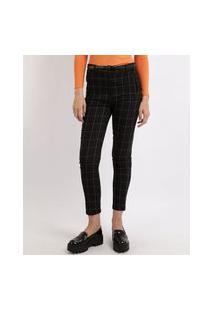 Calça Feminina Skinny Cintura Alta Estampada Xadrez Com Cinto Preta