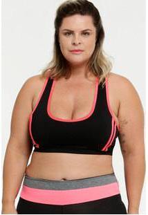 Top Feminino Fitness Neon Nadador Plus Size Marisa