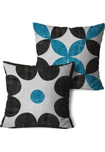 Kit 2 Capas Para Almofadas Decorativos Chumbo E Azul 45X45Cm - Multicolorido - Dafiti