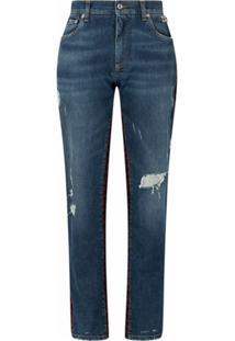 Dolce & Gabbana Calça Jeans Boyfriend Com Recorte De Tweed - Azul
