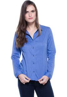 Camisa Lovestone Manga Longa Algodão Liso Azul