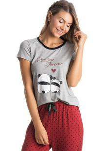 Pijama Panda Love Mg Curta