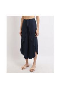 Calça Feminina Pantacourt Com Faixa Para Amarrar Cintura Média Azul Marinho