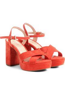 Sandália Couro Shoestock Meia Pata Feminina - Feminino-Laranja