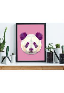 Quadro Decorativo Com Moldura Abstrato Panda Preto
