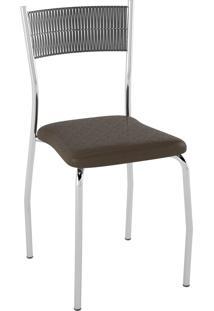 Kit C/ 2 Cadeiras Encosto Preto Assento Courissímo Metalizado Café Pozza