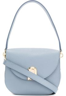 Furla Sleek Grained-Effect Shoulder Bag - Azul