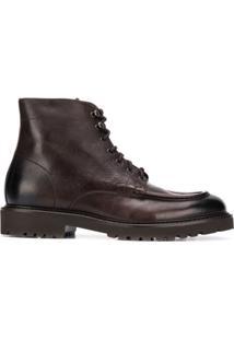 Doucal'S Ankle Boot Com Cadarço - Marrom