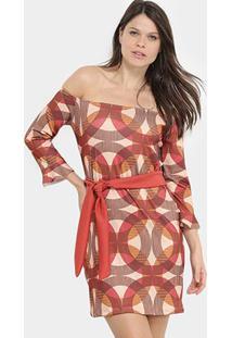 Vestido Aura Ombro A Ombro Amarração - Feminino-Coral