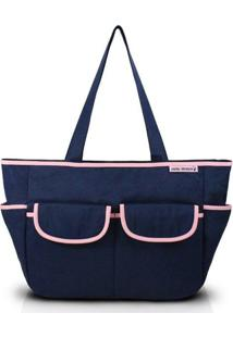 Bolsa De Lisa - Jacki Design - Feminino-Marinho+Rosa Claro
