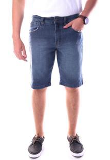 Bermuda Jeans Traymon 4 Bolso E Porta Celular Slim Azul