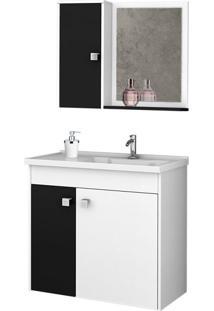Conjunto Para Banheiro Munique Branco E Preto