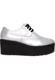 Oxford Box London Silver Vinci Shoes - Prata