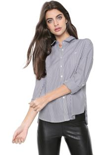 Camisa Ellus Listrada Cinza/Branca